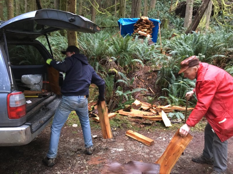 Billy and grandson Michael getting in firewood, Egmont, February 2021